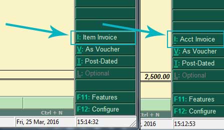 Toggle between Accounts and item invoice