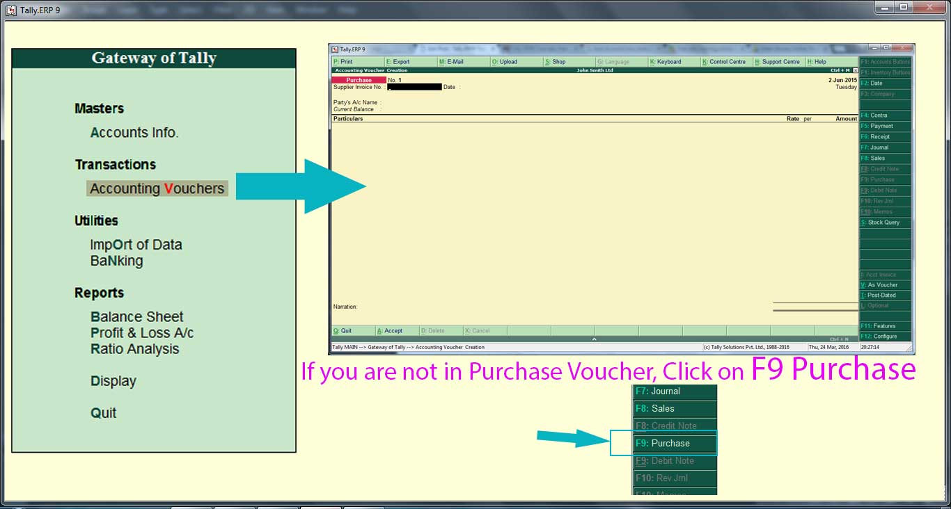 How to create Purchase voucher entry in Tally ERP9