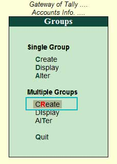 Multiple Group Creation Screen