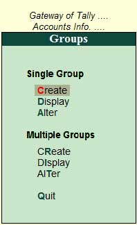 Create group menu Tally ERP9