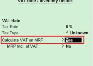 State wise MRP for a stock item and calculate VAT on MRP in Tally ERP 9