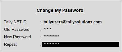 How to change Tally.NET Password