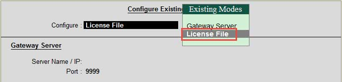 Configure Existing License