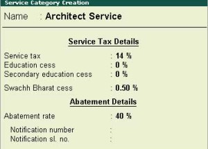 How to account Swachh Bharat cess in a transaction with tax abatement in Tally ERP9?