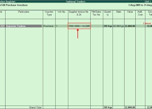 How to view the Supplier Invoice Number and Date of a purchase transaction in Purchase Register of Tally ERP 9?