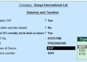 What is Device Number? What are the types Devices available  & support Tally.ERP9 for Kenya region?