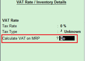 How to see item's MRP in transaction but not calculate VAT on MRP in Tally ERP 9