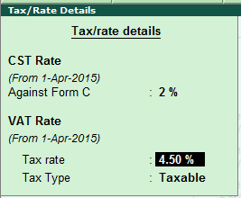 Tax rate details