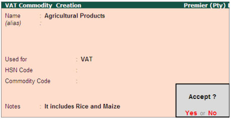 VAT Commodity for botswana