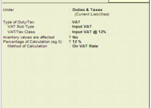 Create Input VAT Ledger for botswana VAT